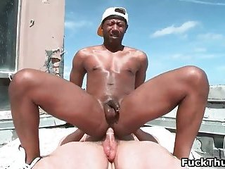 Black thug dude gets picked up on the street for some white dick