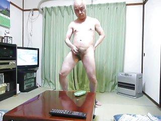 Japanese old man masturbation in my room
