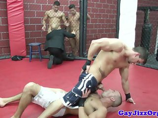 Muscular hunks getting rough with each other