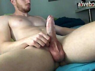 canadian muscular jock strokes his big cock