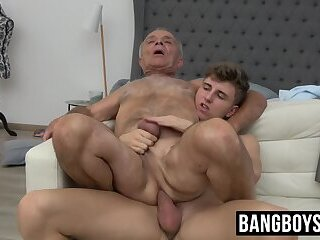 Old boy finds his tight butt hole filled with big young cock