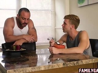 Father and son gay sex in the backyard