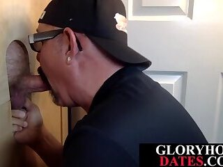 Mature daddy sucking and jerking gloryhole dick