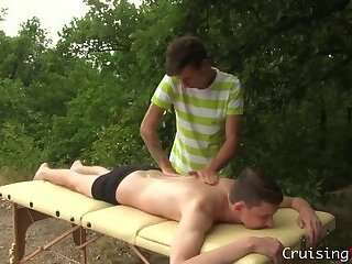Massaging twink blows cum load after fucking