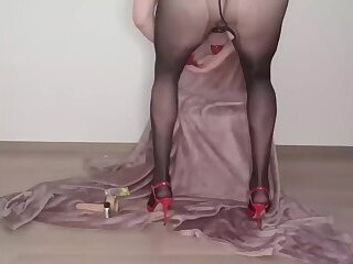 sexy crossdresser shows her body and cums