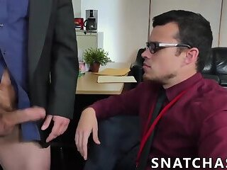 Successful boss makes his workers suck and ride his big cock
