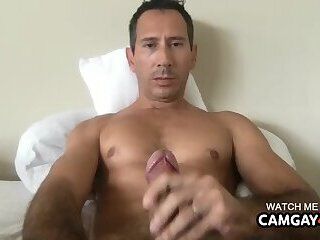 Mature with big head cock touching himself