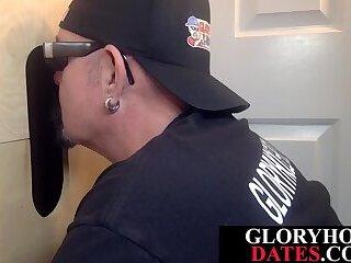 Gloryhole lover eagerly deepthroats dick