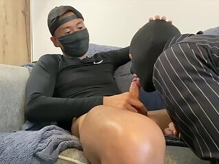 Gimp sucks Asian guy's dick and gets fucked in the ass doggystyle