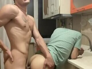 Fucking my twink Grindr hookup and cumming over his hole