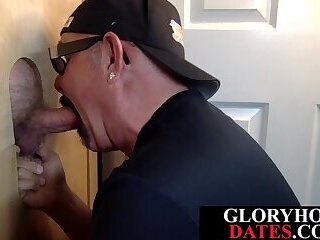 Gloryhole stud eagerly sucking dick in erotic session