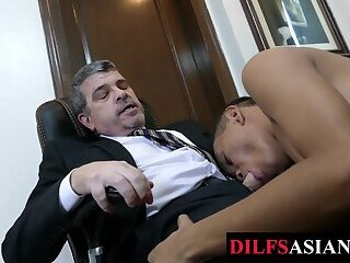 Asian twink barebacked by mature boss after giving blowjob